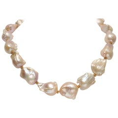 Blush Pink Baroque Pearl and 22K Gold Beaded Necklace
