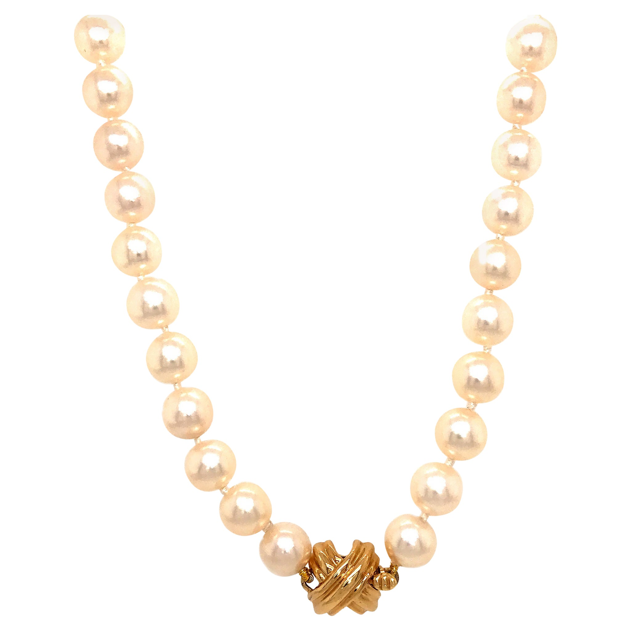 Tiffany & Co. Akoya Pearls with 18 Karat Yellow Gold X-Clasp Necklace
