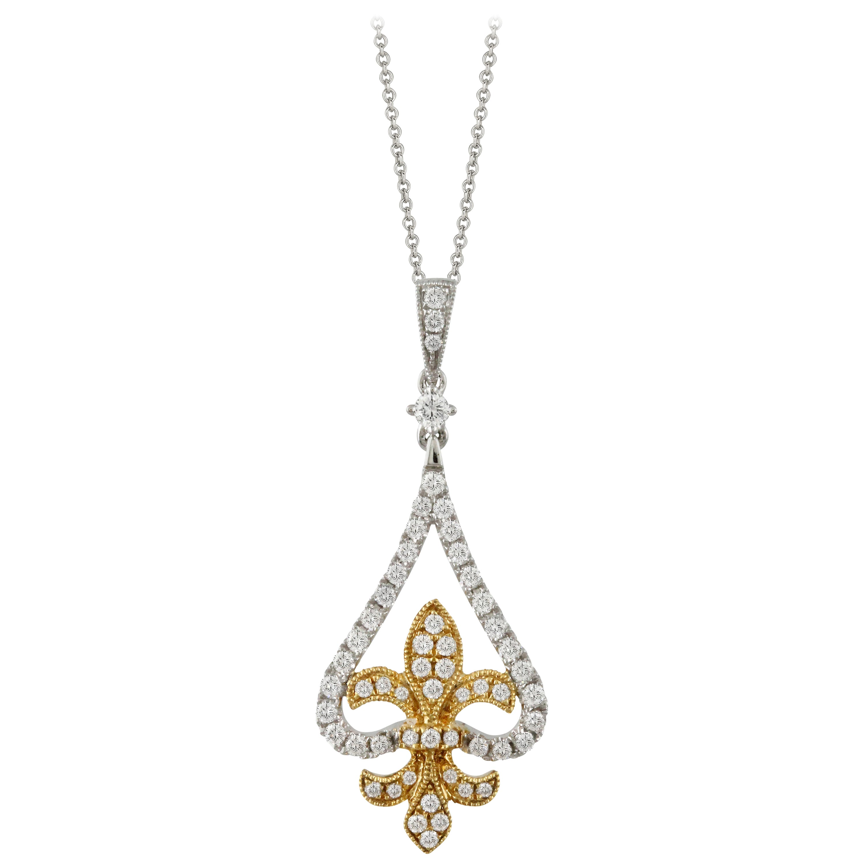 18k White and Yellow Gold Fleur-de-Lis 3/8 Carat t.w. Diamond Pendant Necklace