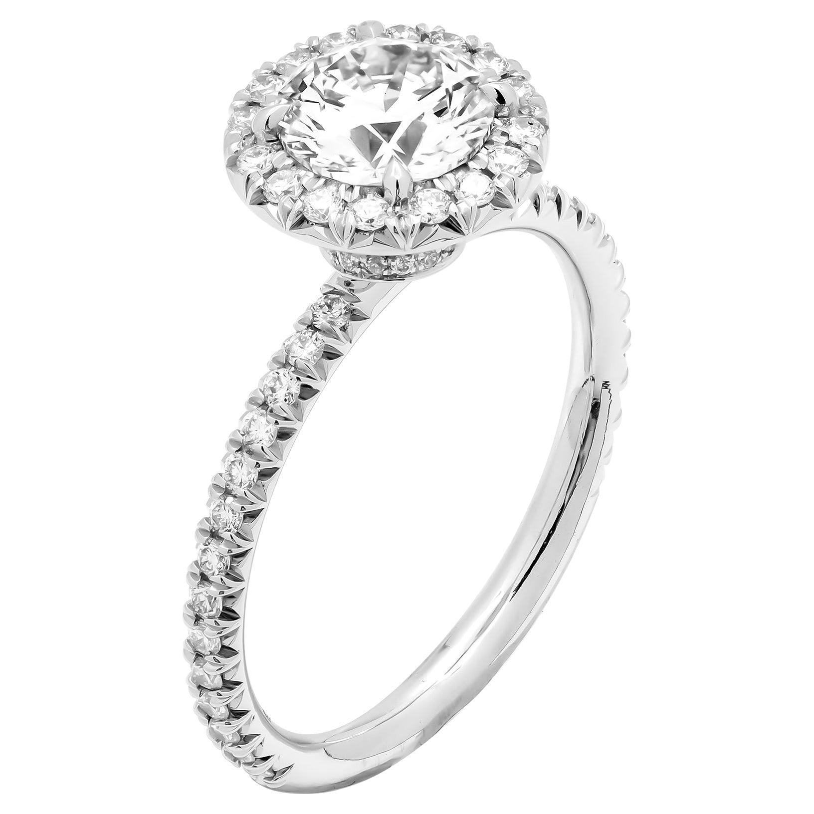 GIA Certified 1.02 Carat H VS2 Round Cut Diamond Engagement Ring