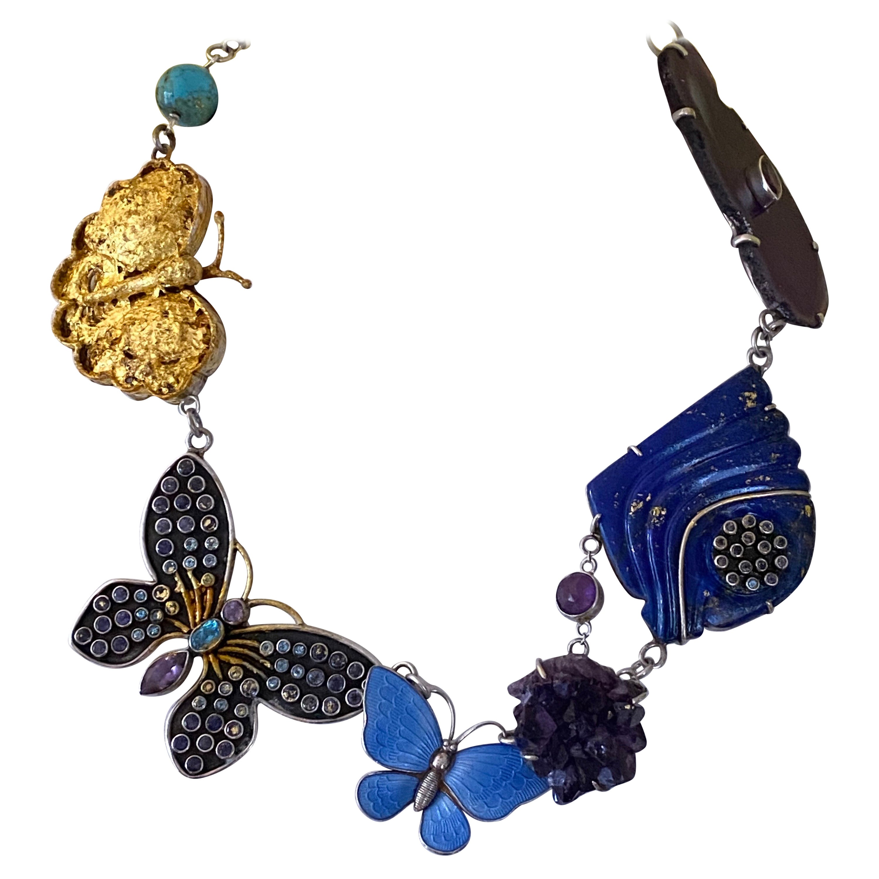 The Butterfly Collector Gemstone Necklace in Sterling Silver