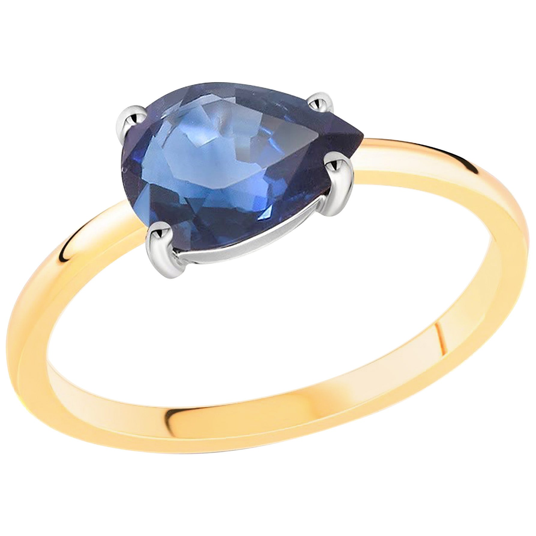 Pear-Shaped Sapphire White and Yellow Gold Cocktail Ring