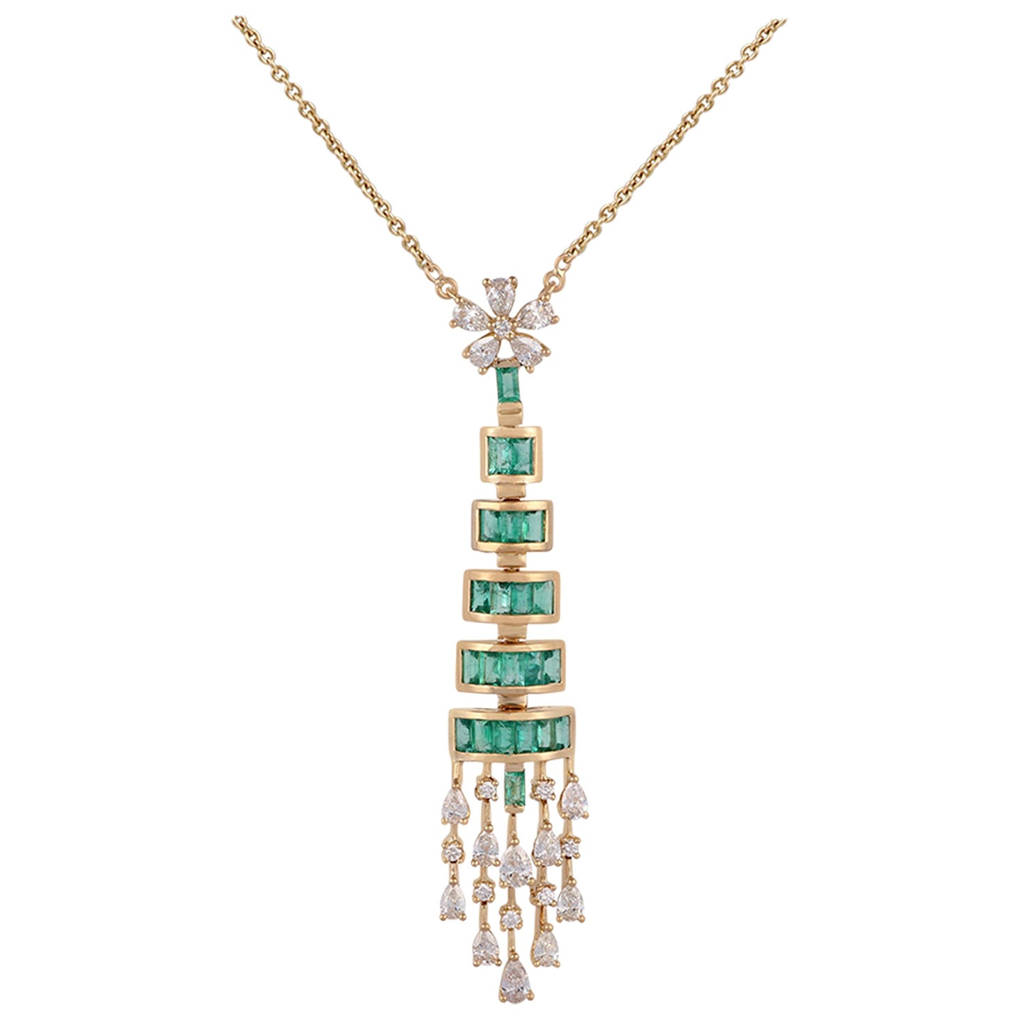 Emerald and Diamond Pendant Necklace Studded in 18 Karat Yellow Gold