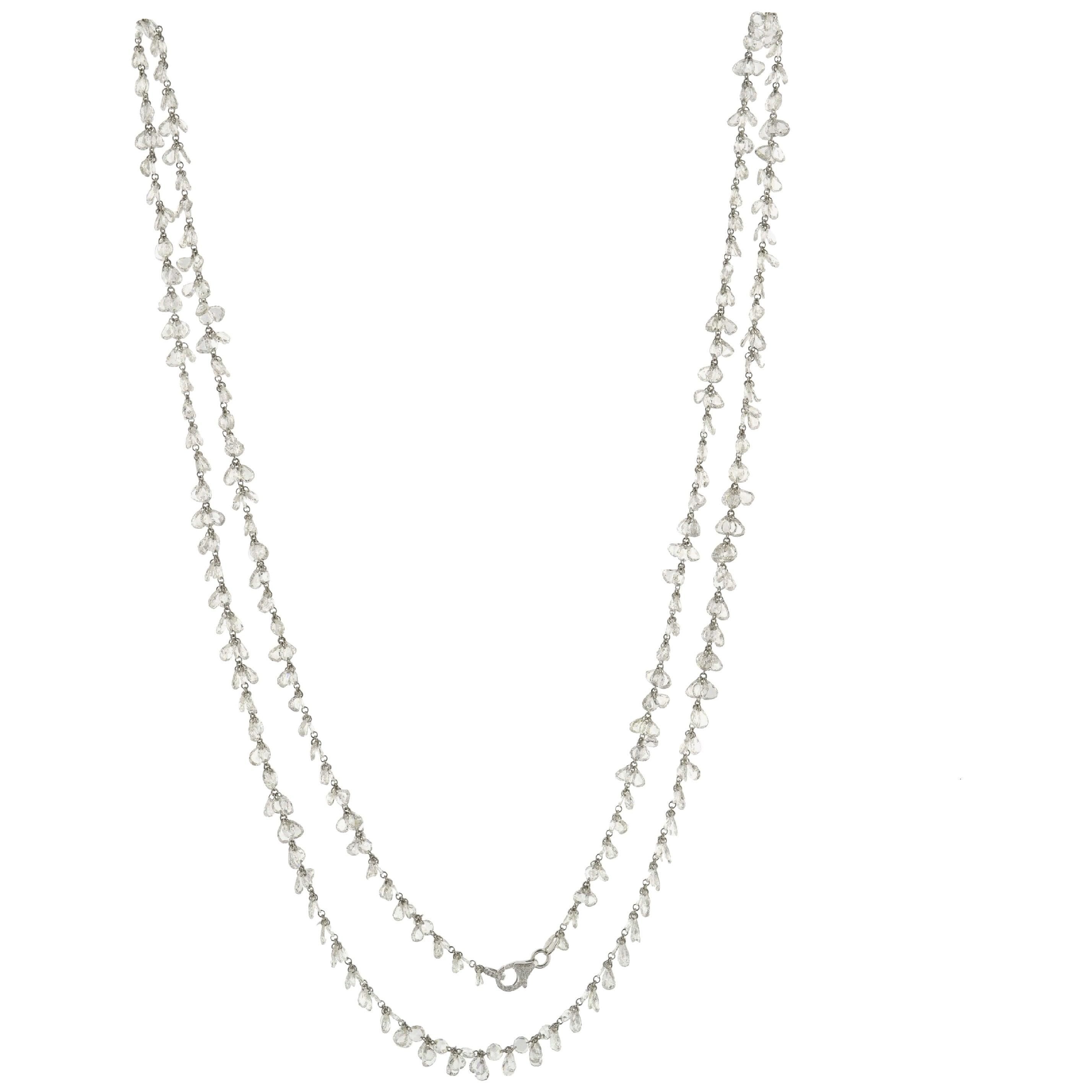JR 60.11 Carat Rose Cut Diamond 18 Karat White Gold Dangling Necklace