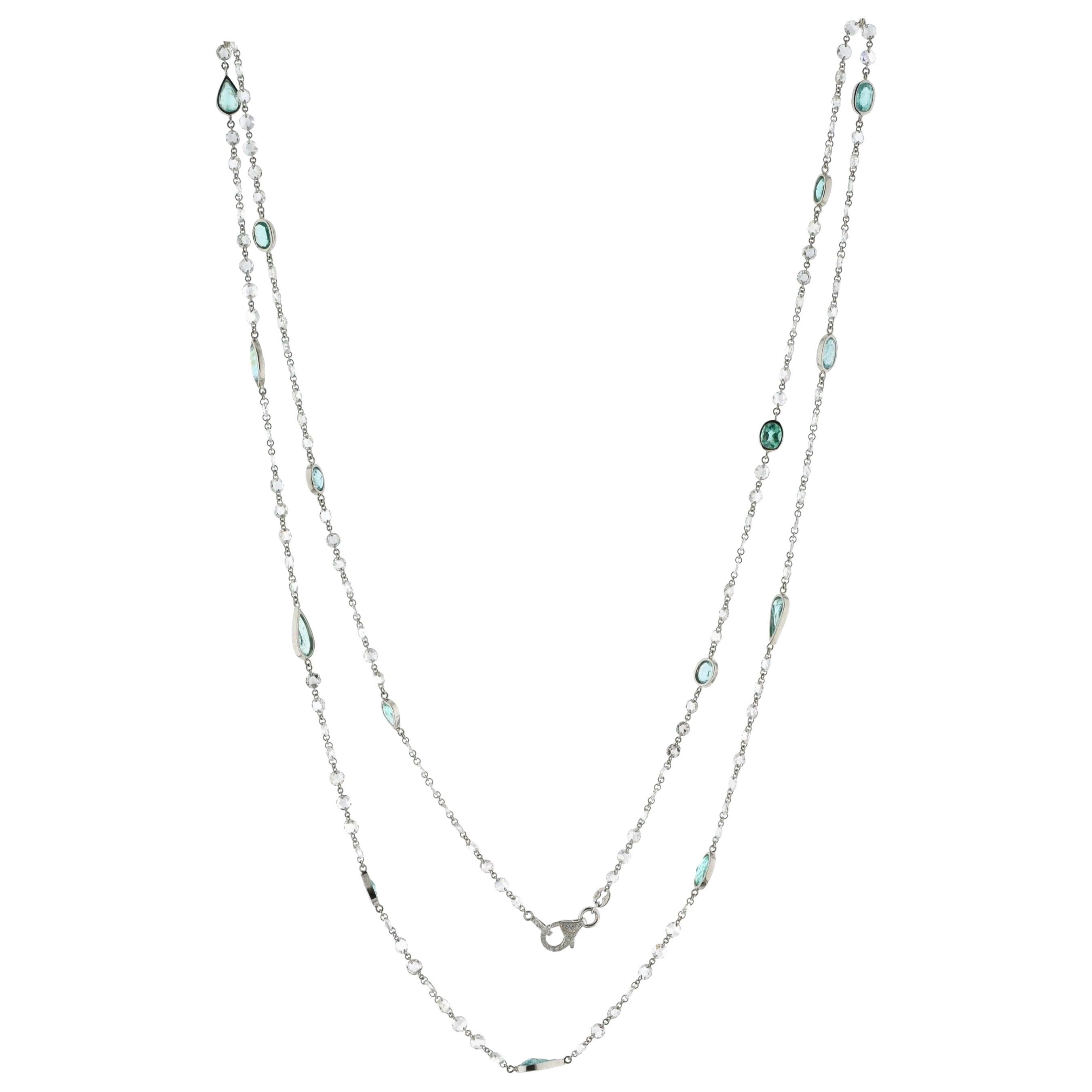 JR 18 Karat White Gold Rose Cut Diamond Paraiba Necklace