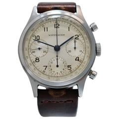 Wittnauer Stainless Steel Chronograph Military  Wristwatch Circa 1950's