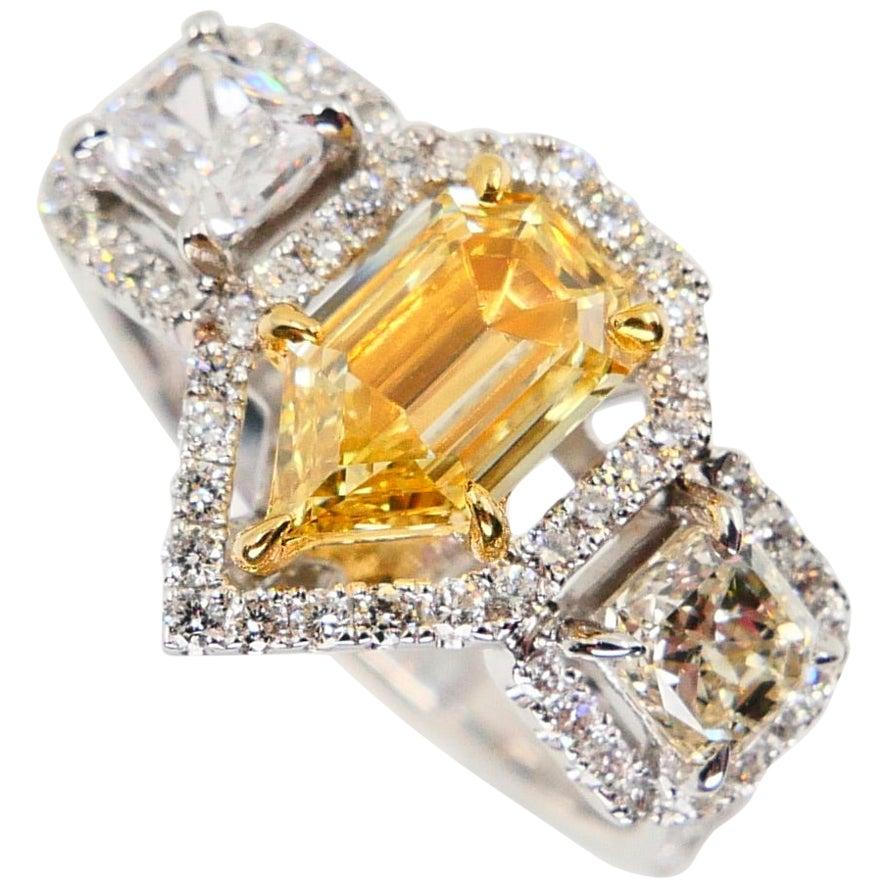 GIA Certified 0.76 Cts Fancy Yellow VS1 Modified Pear Shape Diamond 3-Stone Ring