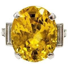 Tiffany & Co. Unheated 10.81 Carat Yellow Sapphire and Diamond Ring
