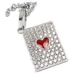 Cartier Diamond Ace Of Hearts Card Gold Pendant Necklace