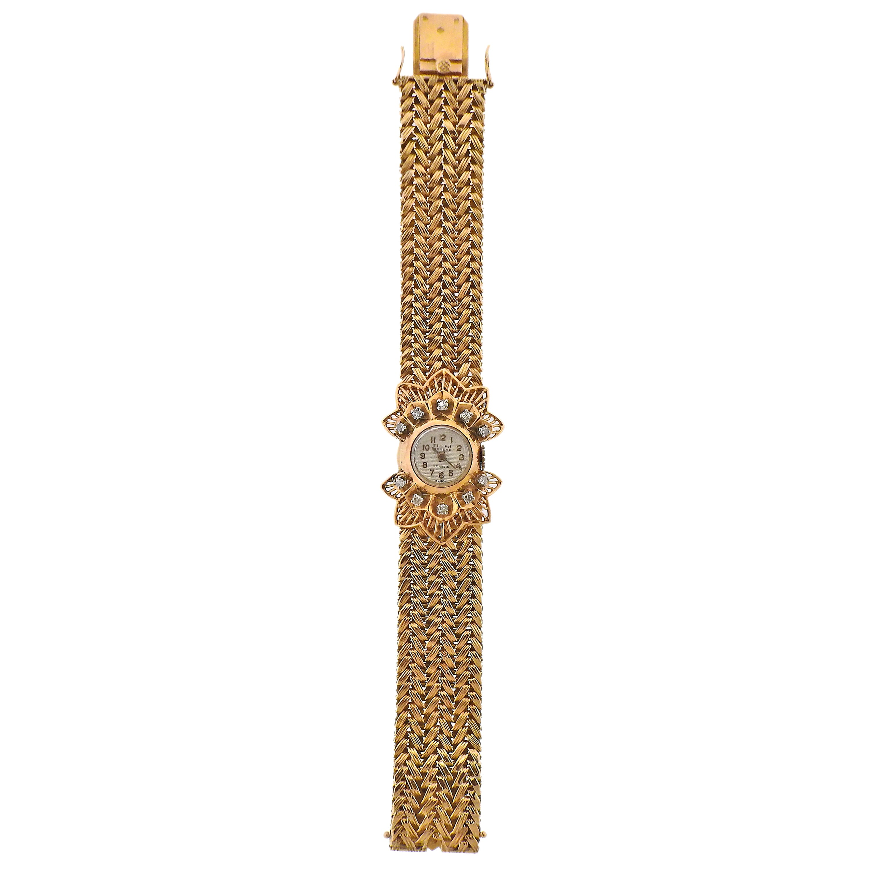 Fluva France 1940s Retro Diamond Gold Wristwatch
