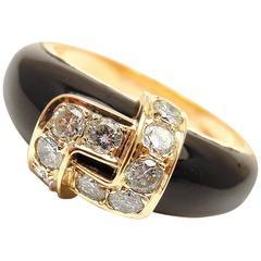Van Cleef & Arpels Black Onyx Diamond Gold Band Ring