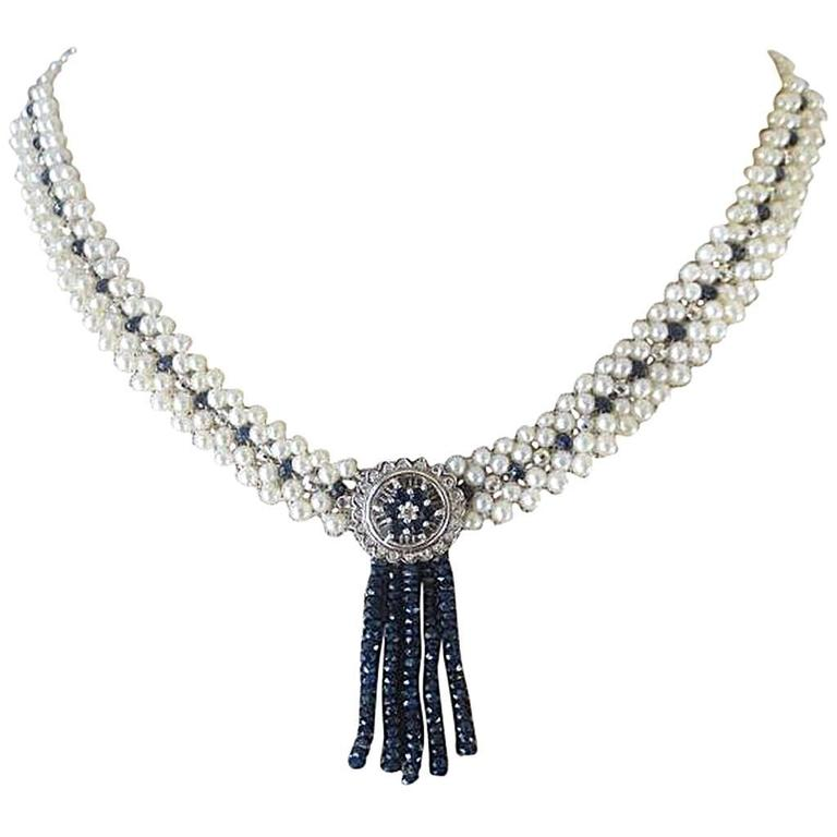Marina J Cultured White Pearl Sapphire Gold Bead Drop Necklace For Sale