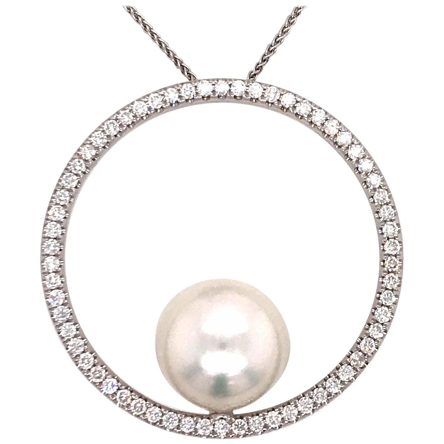 South Sea Pearl Diamond Circle Pendant 1.04 Carat 18 Karat White Gold
