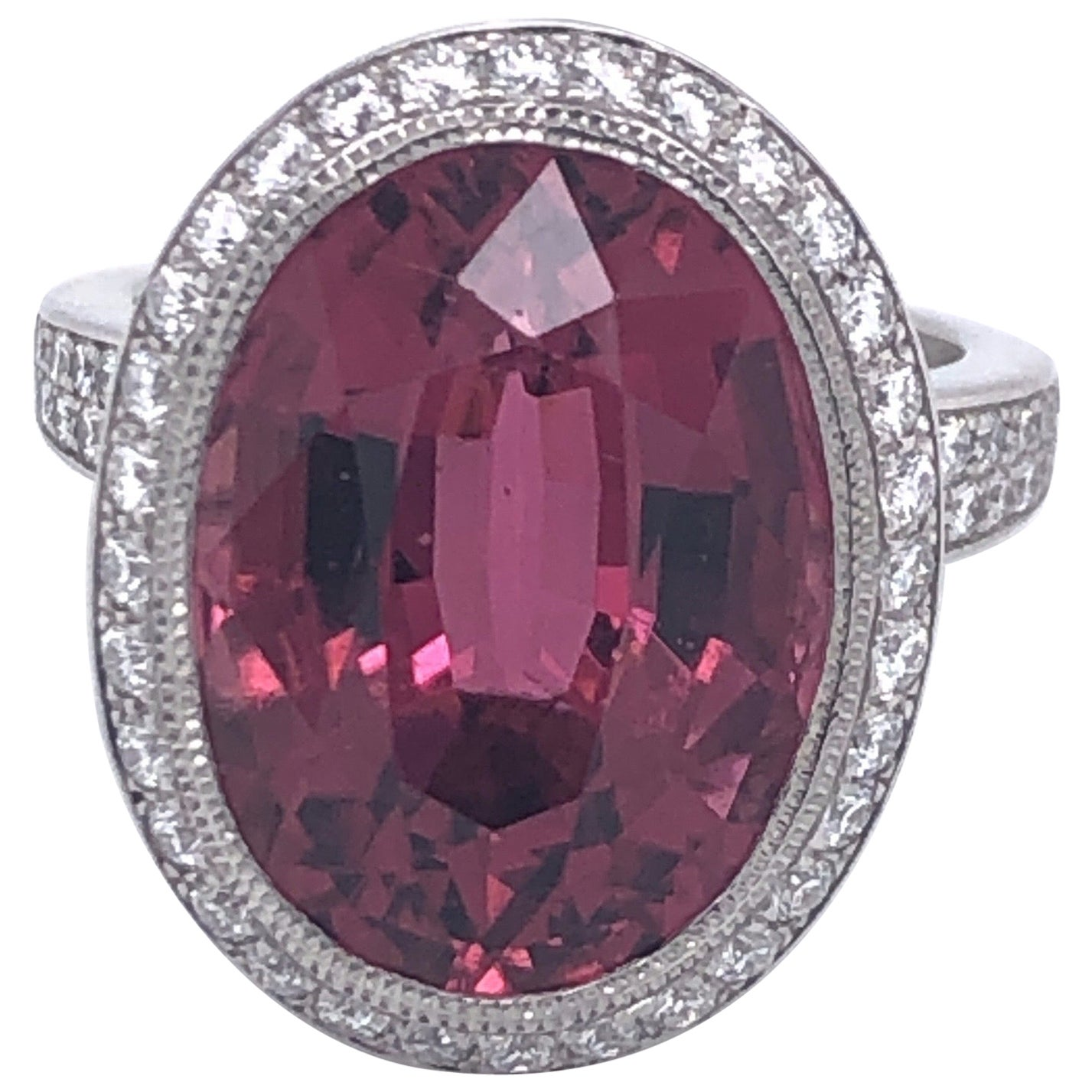 Tiffany & Co. Platinum Pink Tourmaline Diamond Ring