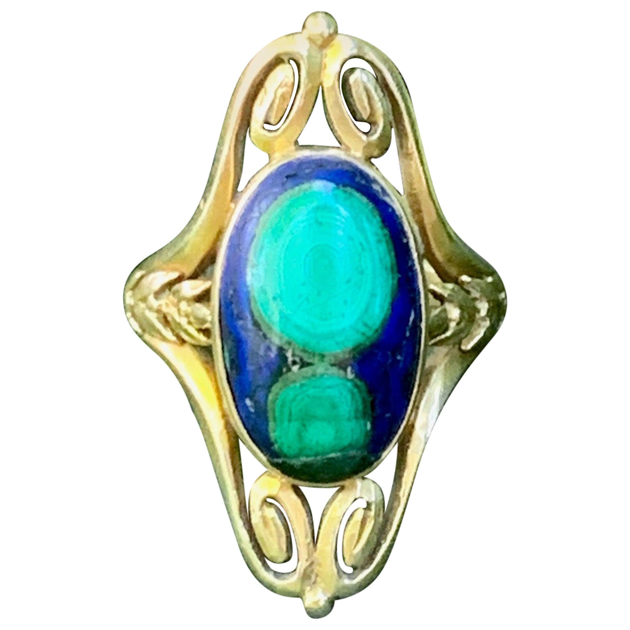 Art Nouveau Azurite Malachite Cabochon 14 Karat Yellow Gold Ring - Size 6 3/4