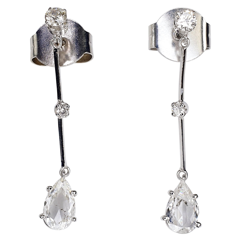 Diamond Pear Cut 1.20 Carat Drop Earrings in 18 Karat White Gold