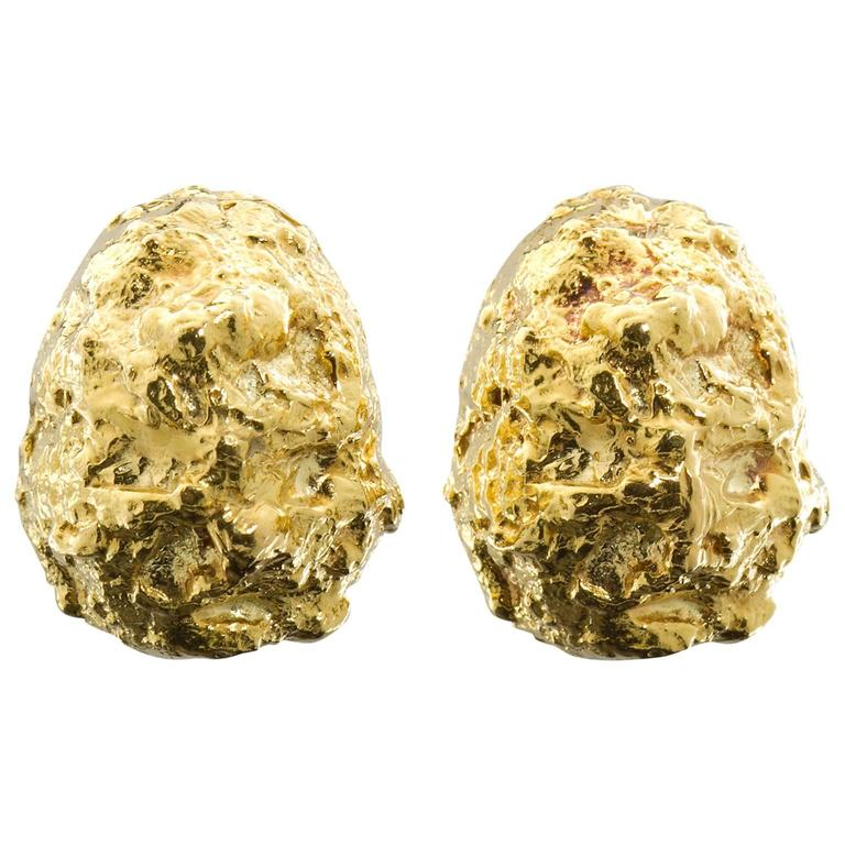 David Webb Gold Nugget Earclips For Sale