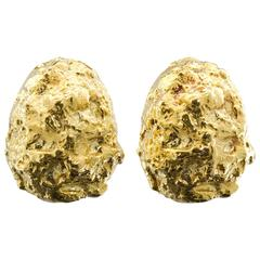 David Webb Gold Nugget Earclips