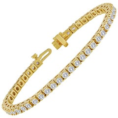 4.70 Carats Diamond Yellow Gold Tennis Bracelet