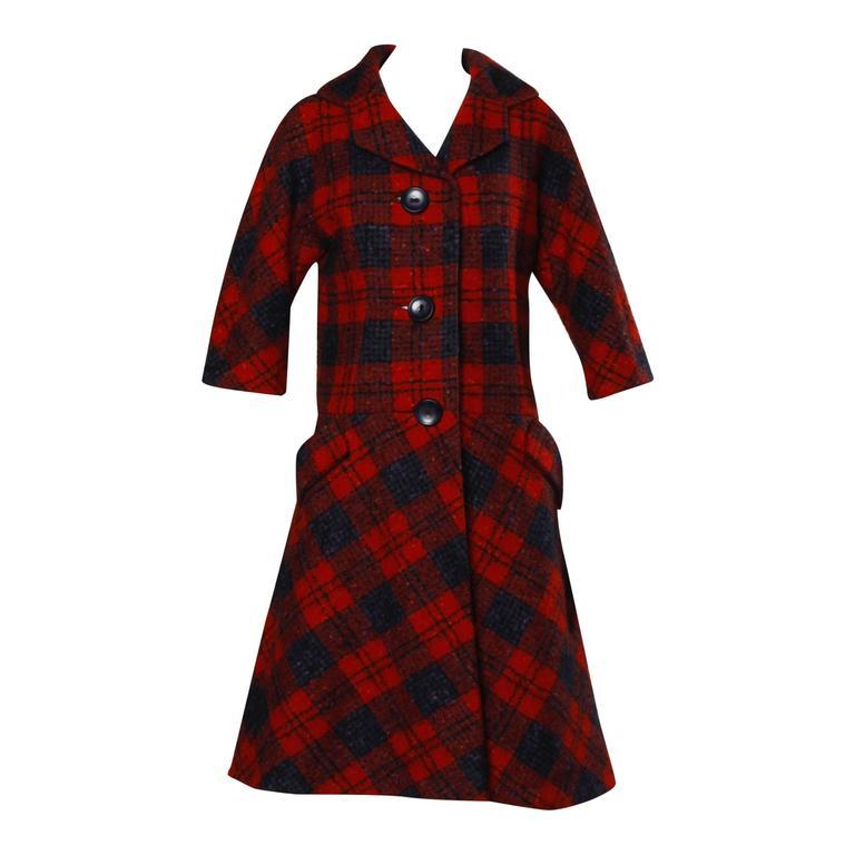 Sarmi 1960s Vintage Red Plaid Coat