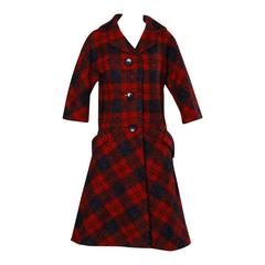 Sarmi 1960s Vintage Red Plaid Coat