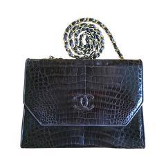 Chanel Vintage Brown Crocodile Flap Bag with Gold Hardware