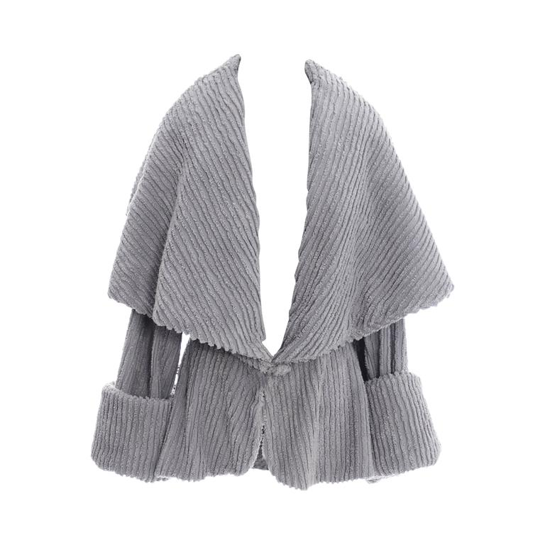 Norma Kamali Rare Vintage Jacket Gray Chenille Shawl Collar 1980s Peplum 1