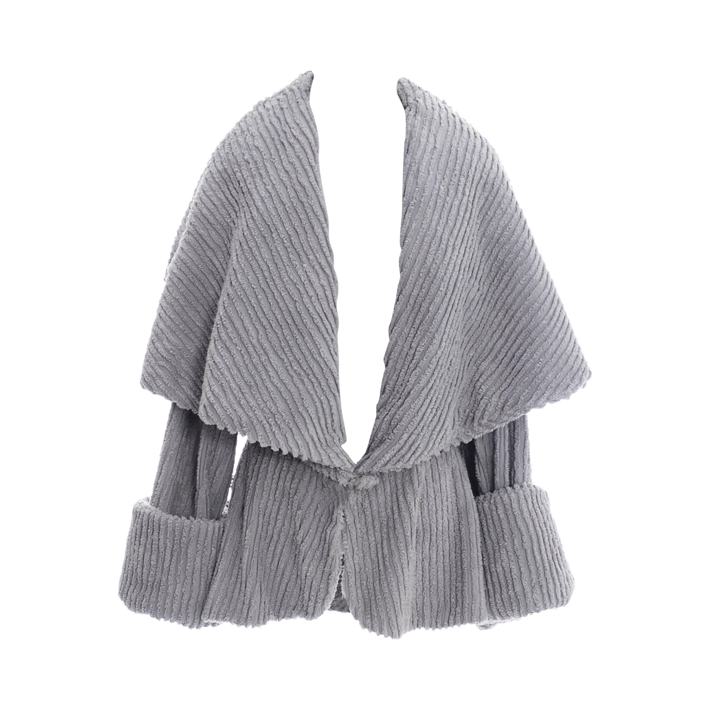 Norma Kamali Rare Vintage Jacket Gray Chenille Shawl Collar 1980s Peplum