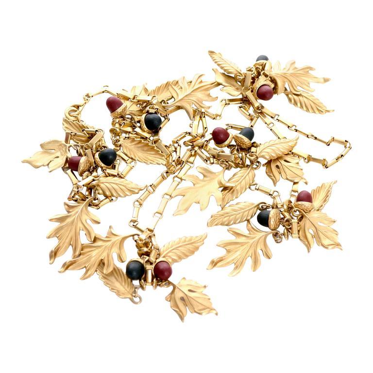 DKNY New York Long Vintage Acorn Leaf Leaves Necklace 1