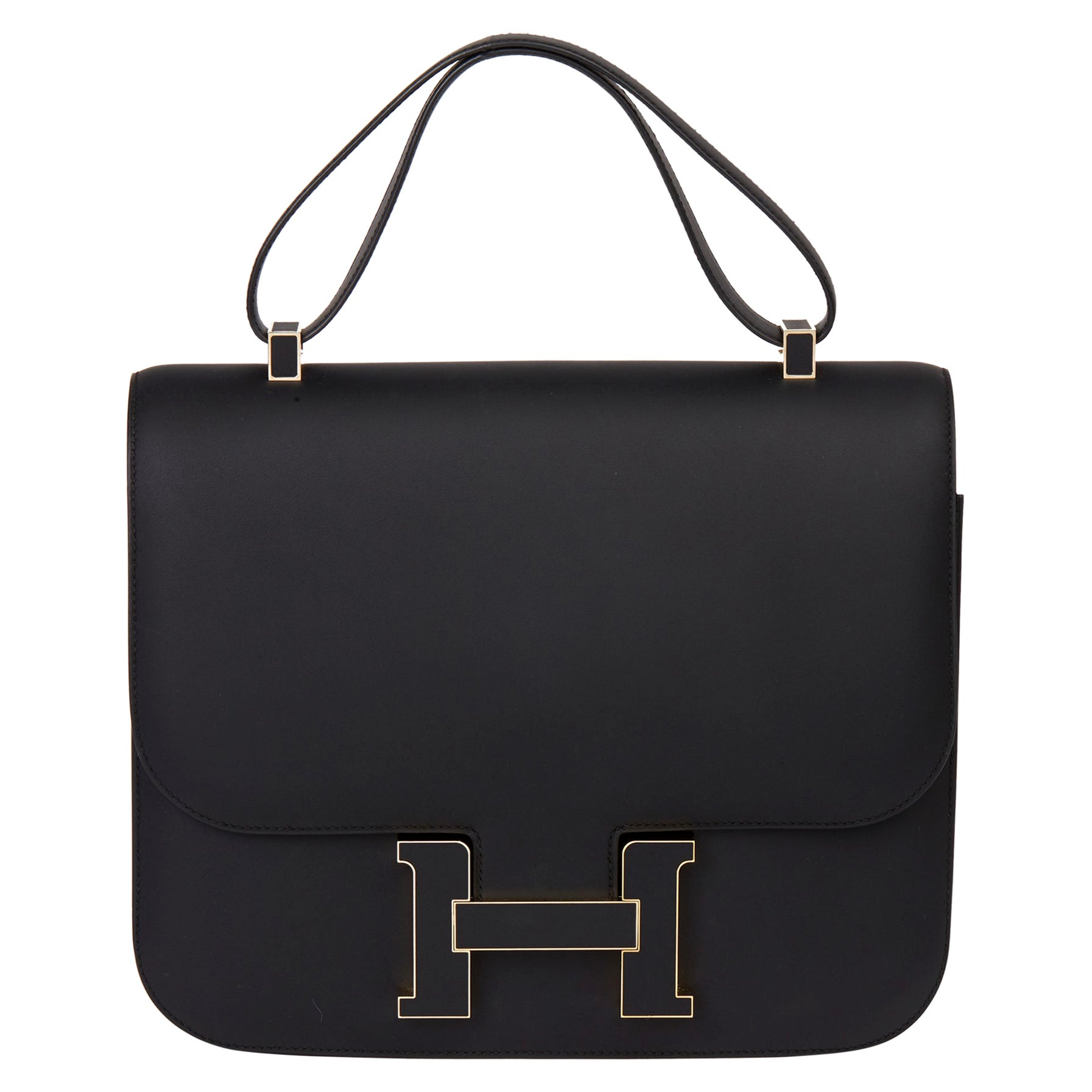2019 Hermès Black Sombrero Leather Constance Cartable