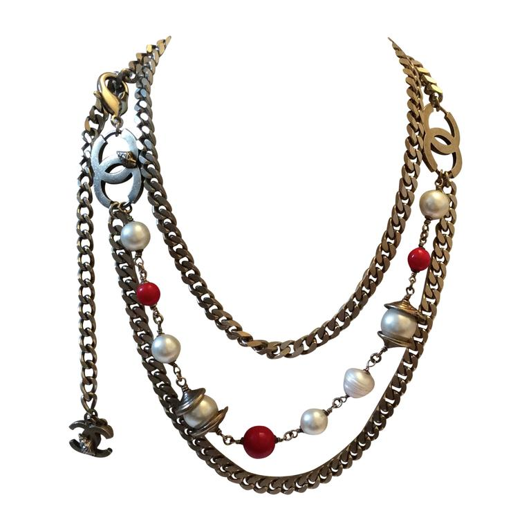 Vintage Chanel Silver Tone Belt / Necklace  For Sale