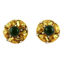 Chanel Vintage Gripoix Glass and Rhinestone Filigree Clip-On Earrings Fall 95