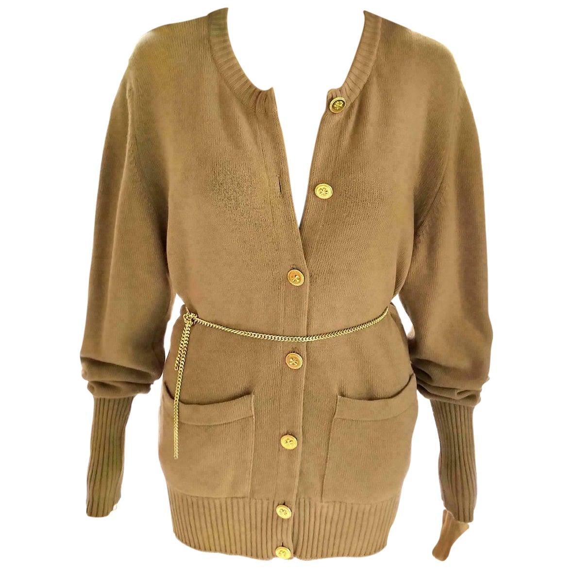 Vintage Chanel Camel Tan & Gold 100% Cashmere Sweater Cardigan FR 38/ US 4 6