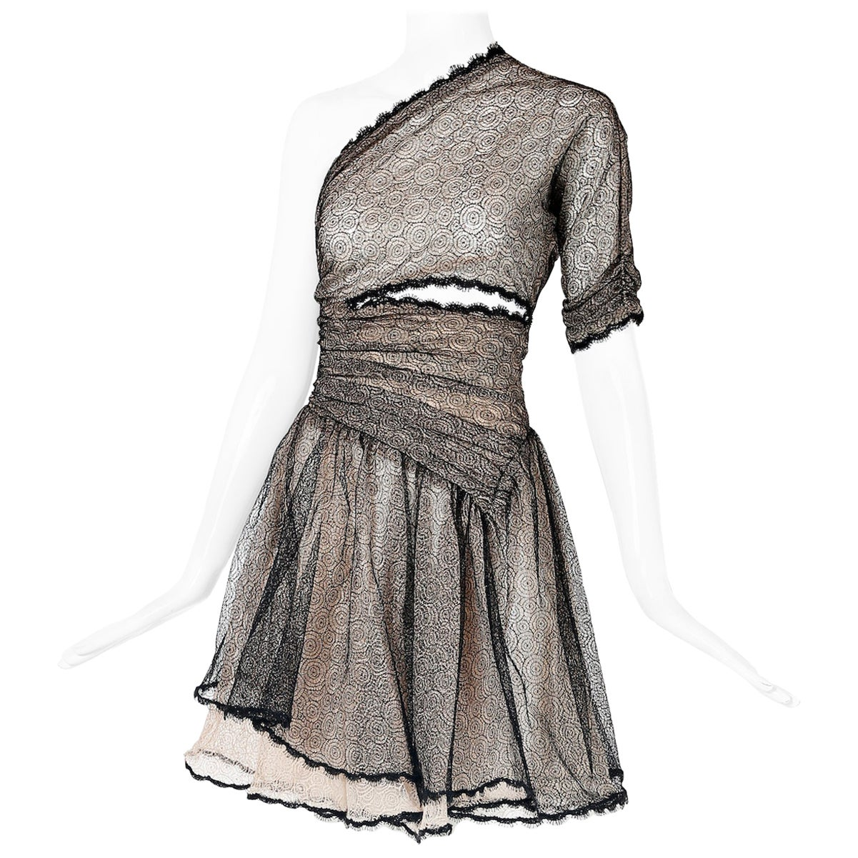 Vintage Geoffery Beene Single Shoulder Lace Mini-Dress w/Cutout Detail at Waist