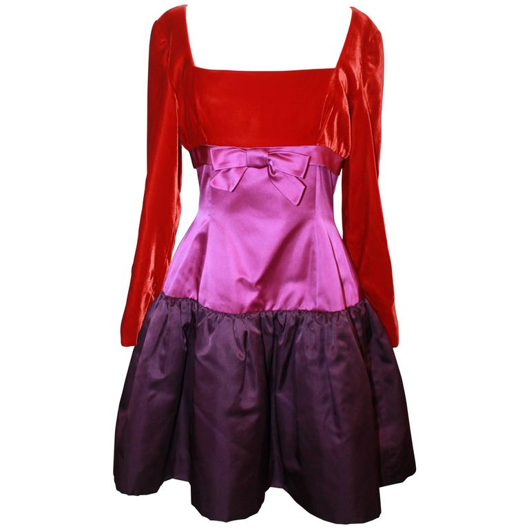 Oscar de la Renta Red & Purple Satin & Velvet Color Block Dress - 8 - Circa 90's