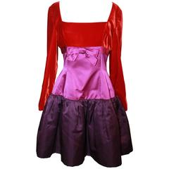 Oscar de la Renta Red & Purple Satin & Velvet Color Block Dress - 8 - Circa 90's