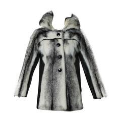 Black + White Vintage Cross Mink Fur + Leather Coat or Jacket