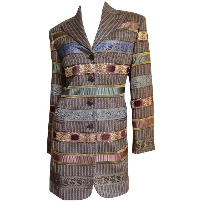 1990s Romeo Gigli Tapestry Ribbon Jacket