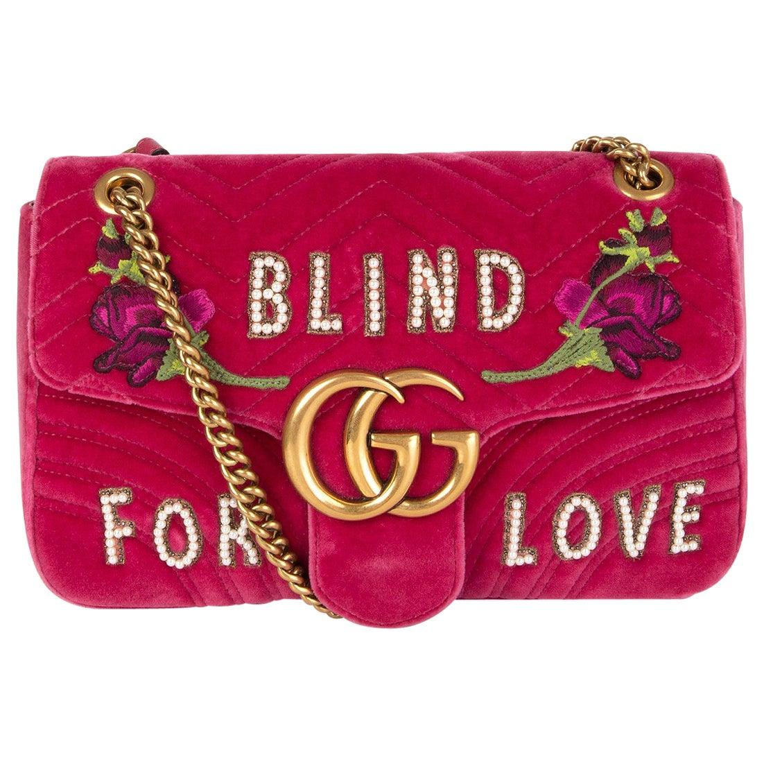 GUCCI pink Velvet GG MARMONT MEDIUM BLIND FOR LOVE Shoulder Bag