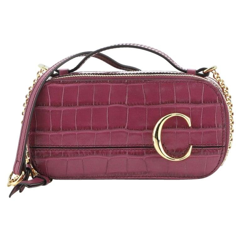Chloe C Vanity Bag Crocodile Embossed Leather Mini