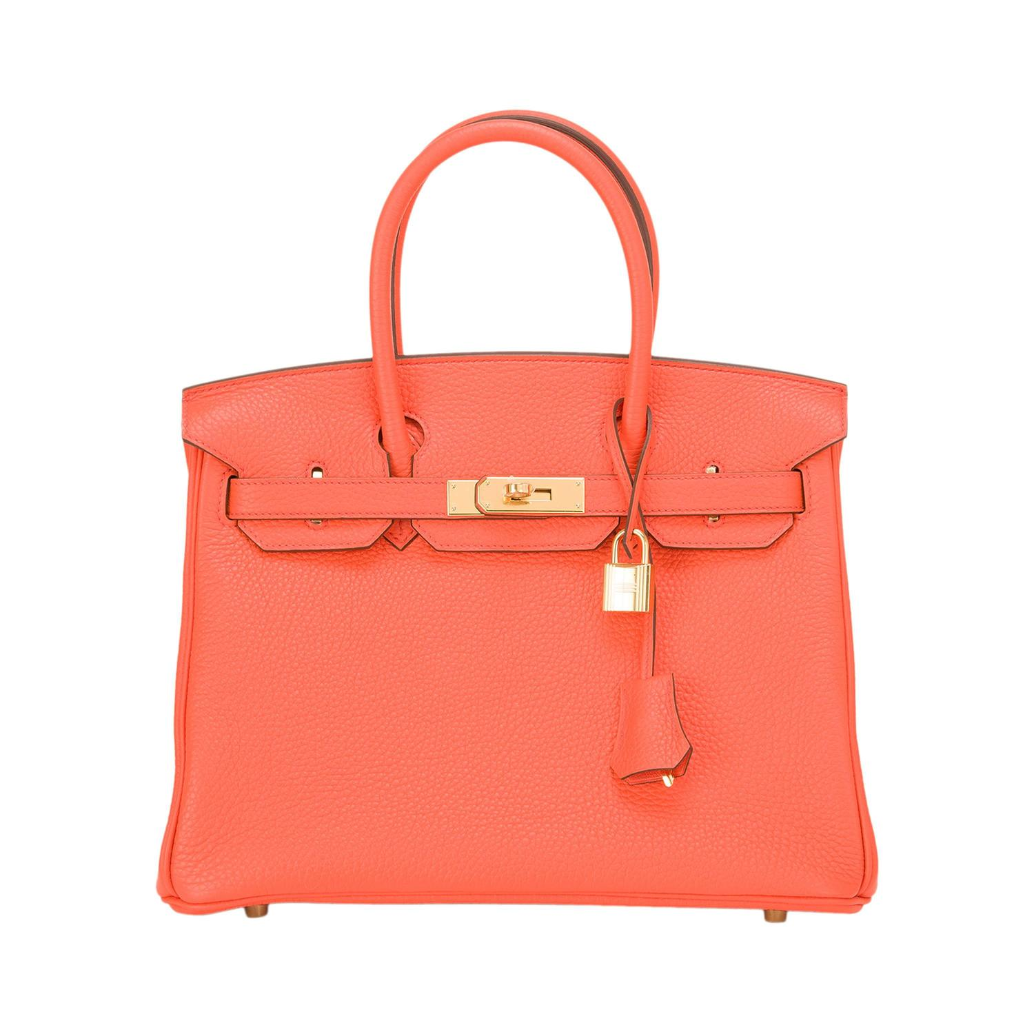 Hermes Orange Poppy Clemence Birkin 30cm Gold Hardware