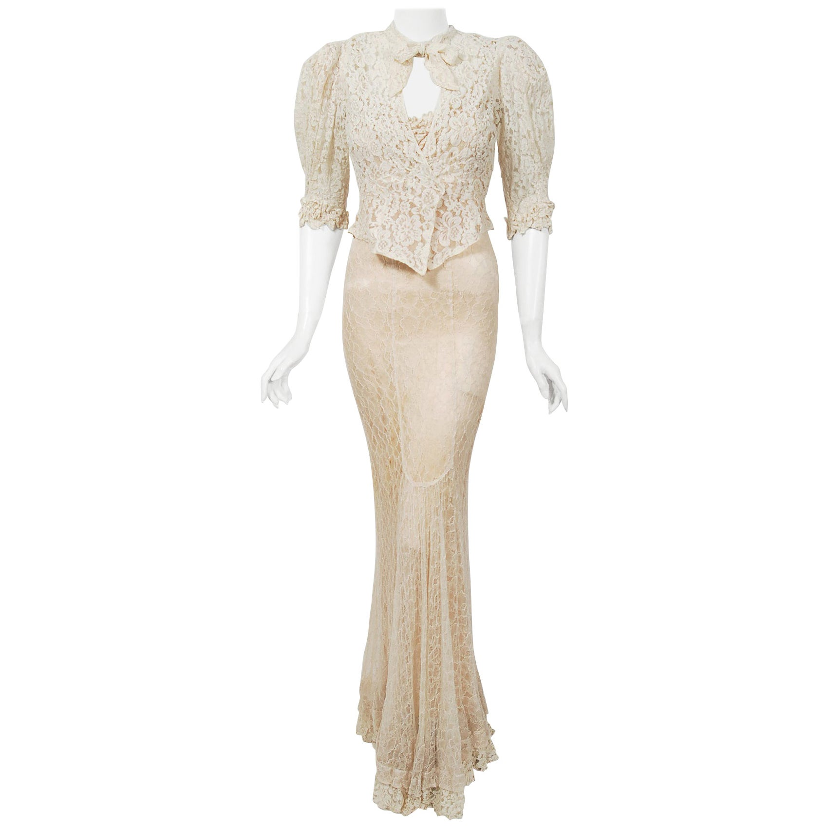 Vintage 1930's Couture Ivory Lace Nude Illusion Backless Bias-Cut Gown & Jacket