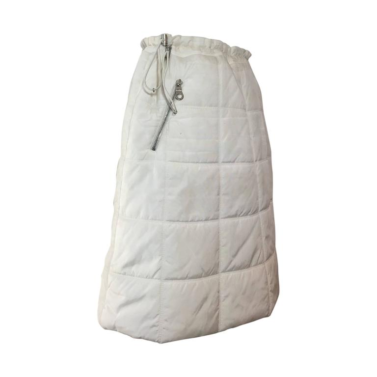 Chanel Autumn 2000 White Quilted Puffer A-Line Skirt w/ Side Zip 1