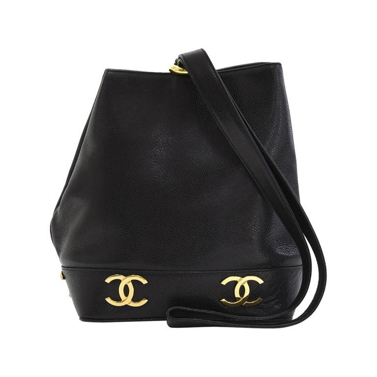 6f14cdb16eb8 1990s Chanel Black Caviar Leather Drawstring Bucket Bag at 1stdibs