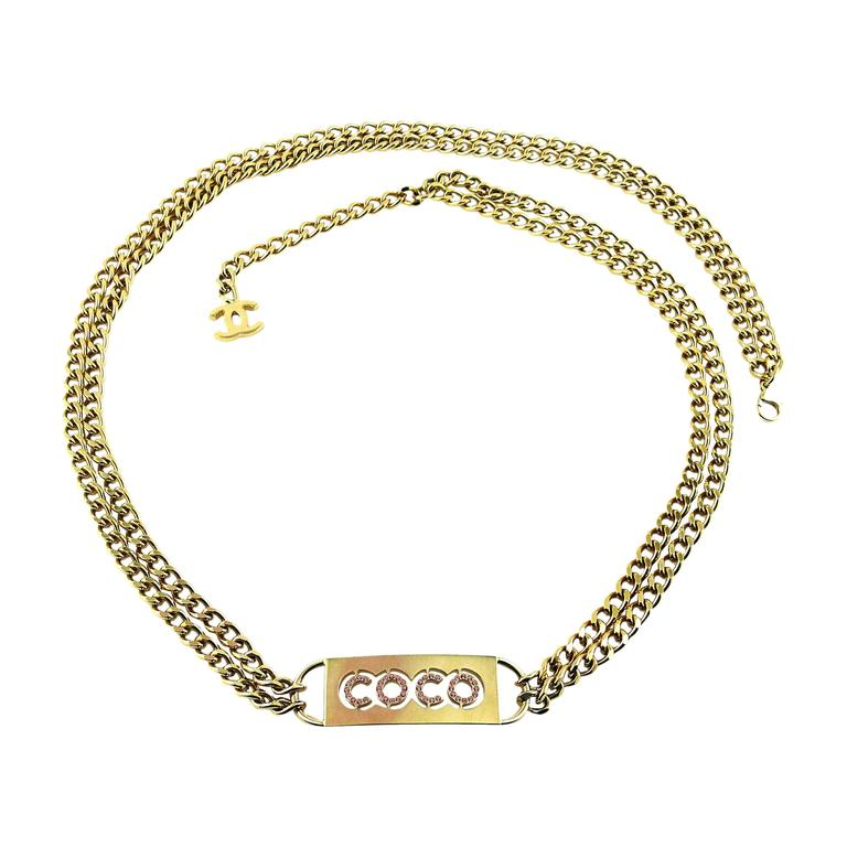 Chanel Pink Crystal Coco ID Tag Chain Belt Spring 2002 For Sale