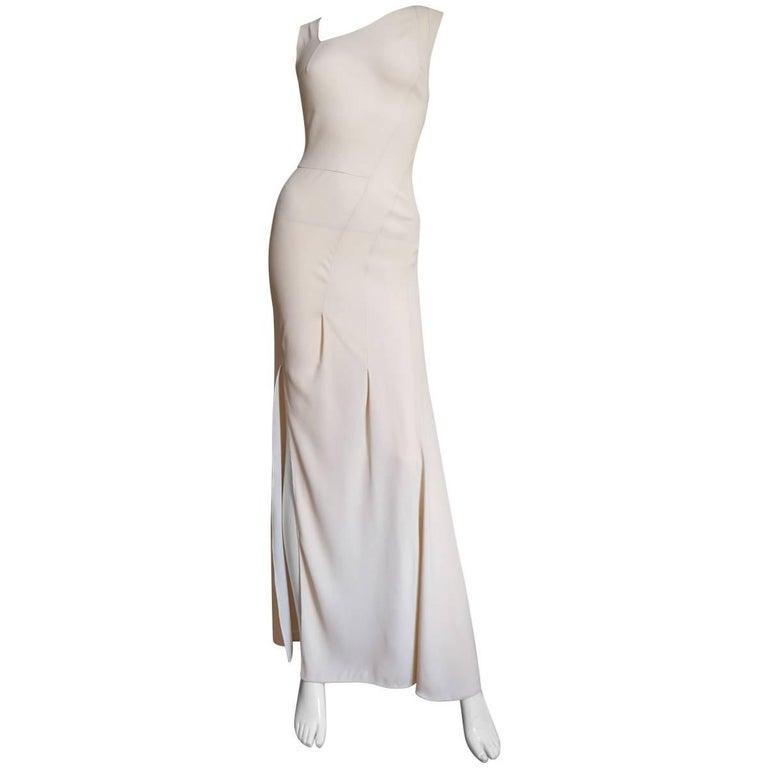Christian Dior 1990s Blush Seam Detail Silk Gown