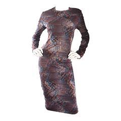 Vintage Elizabeth Arden 3 - D Stripes + Flowers Optical Illusion Jersey Dress