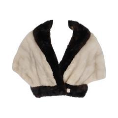 1950's Elegant Ivory White & Brown Mink Fur Block-Color Cropped Bolero Jacket