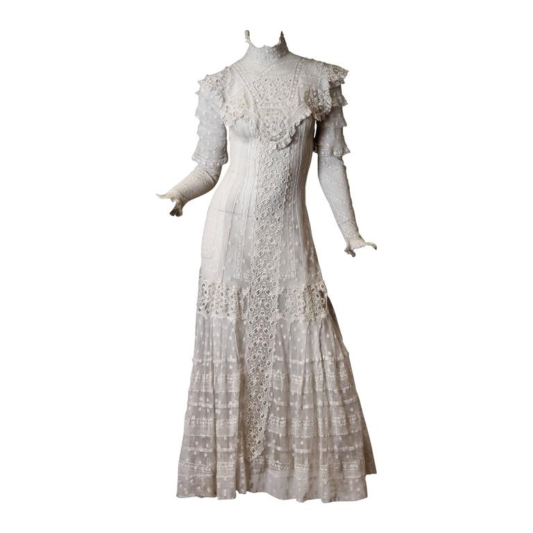 Late Victorian Lace Tea Dress at 1stdibs