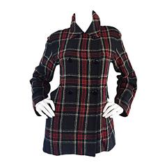Vintage Isaac Mizrahi for Bergdorf Goodman Tartan Plaid Wool Jacket / Coat